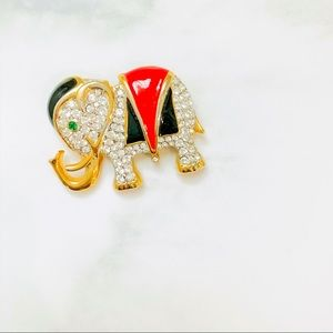 Enamel & Crystal Elephant Brooch